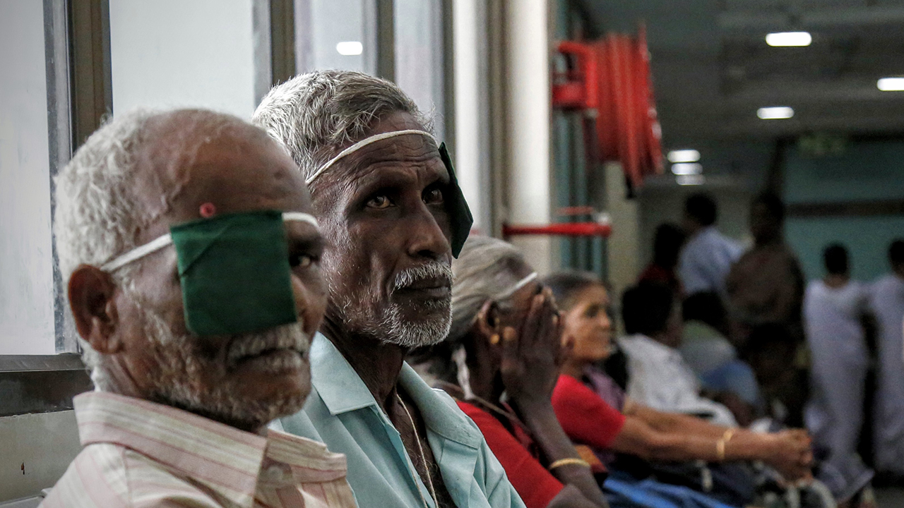 Patients await treatment at the Aravind Eye Hospital in Pondicherry, India.